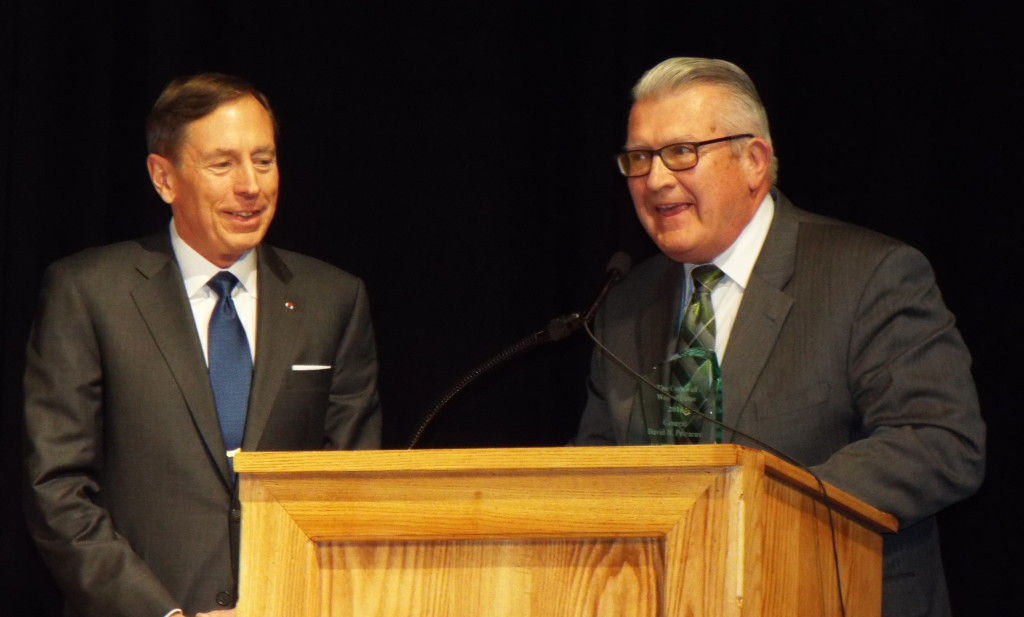 Although he won't be able to attend tomorrow's Cornwall Wall of Fame induction ceremony, General David Petraeus visited Cornwall High School this afternoon. He accepted a plaque from Superintendent Neal Miller and spoke to the student body.