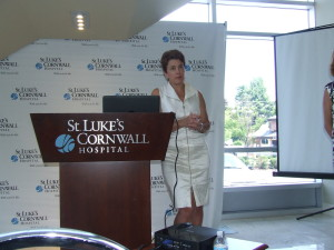Michelle Rider, chairperson of the SLCH trustees, responds to questions at the July 22 meeting,