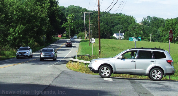 Photo by Ken Cashman The intersection of Jackson and Route 94 was busy on Monday evening, July 18. The vehicle on the right is waiting for an opening to cross the highway.
