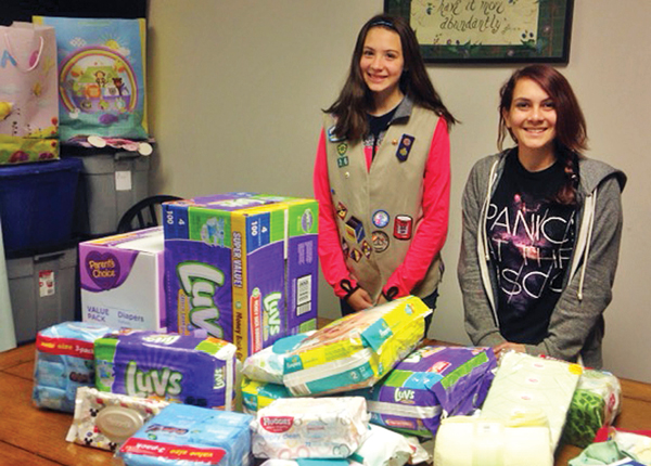 Photo contributed Jenna Smith and Marissa Hart decided on raising awareness of teen pregnancy as their Silver Award project. They also collected donations for My Choice Pregnancy Care Center.