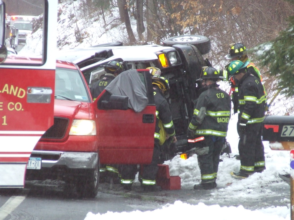 Emergency personnel responded to a roll-over on Angola Road near Mine Hill Road. Take it easy on the roads. Some are still slick like those on the southern border.