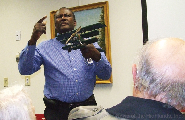 At the Cornwall Public Library on Jan. 25, Quincy Magwood displayed a World War I fighter plane. Gunners had to be careful not to hit the propeller when they were firing. Mr. Magwood is the president of the Eastern Region of Tuskegee Airmen.