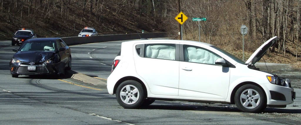 Cornwall Volunteer Ambulance Corps, as well as town and village police, responded to a two-car accident on Route 9W near Pecks Road. Air bags deployed in both vehicles, but it did not appear the occupants were severely injured.
