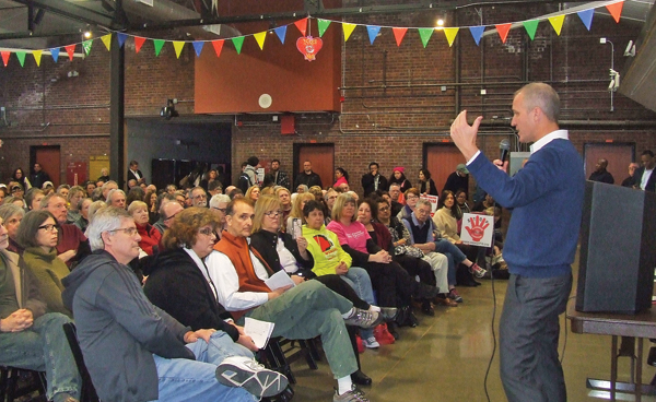 Photo by Ken Cashman Rep. Sean Patrick Maloney addressed an audience of 300 people at a Town Hall Meeting in the City of Newburgh on Feb. 26.