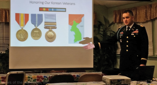 Contributed photo At a March 7 presentation to the Hudson Valley Honor Flight directors, Maj. Kyle Hatzinger showed the medals won by participants in the Korean War -- from left to right, National Defense Service Medal, Korean Service Medal, United Nations Service Medal.