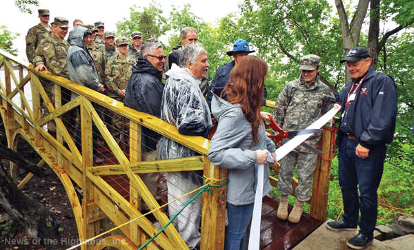 A new bridge on Bannerman Island will allow tours to the summit. The bridge, unveiled last week, was constructed by 11 West Point cadets majoring in civil and mechanical engineering.