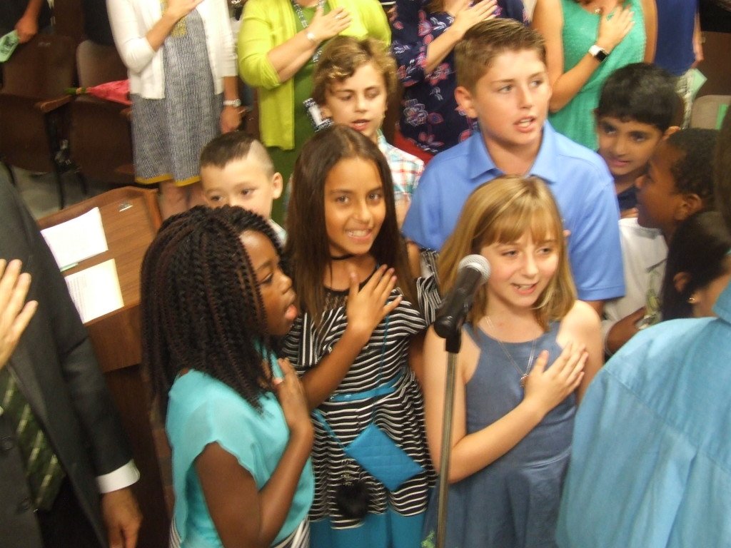 At Willow Avenue School, students with perfect attendance led the Pledge of Allegiance