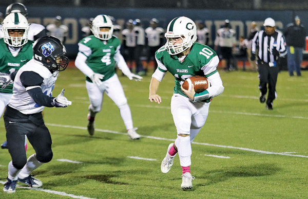 File photo (Lupo) Kieran Kreider gains yardage against Wallkill in last year's section semifinals. He was injured later in the game, and missed the balance of the season.