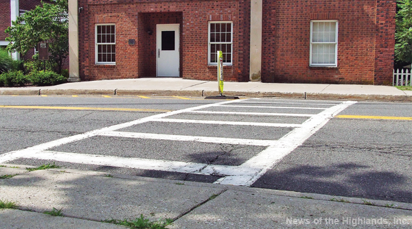 The crosswalk in front of Cornwall-on-Hudson Elementary School is not wheelchair accessible. The Cornwall-on-Hudson Board of Trustees is considering spending around $18,000 so the crosswalk is ADA compliant.