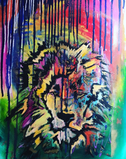 "Cornwall High School graduate, Lawrence Gregorek, won the ""Best in Show"" award, during ArtFest, for his abstract painting of a lion."