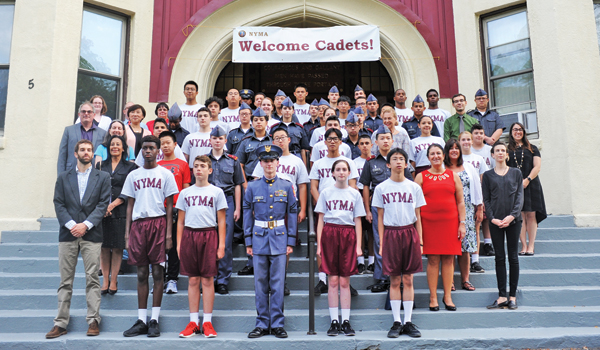 Contributed photo Cadets and faculty members gathered on the steps of the Administrative Building before the Aug. 27 Convocation. Returning cadets are in uniform; newcomers are wearing shorts and T-shirts. Some students had not yet arrived at the school.
