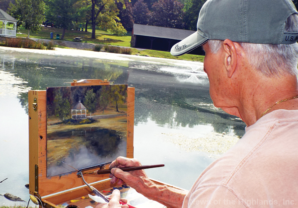 Photo by Jason Kaplan Russ Astarb, of Salisbury Mills, has been Andrew Lattimore's student for years. On Saturday he was adding details to a painting of the Town of Cornwall's gazebo. During the Plein Air season, which begins the end of May and runs until it starts to get cold, Lattimore will invite his students to paint in the outdoors. One popular location is around Rings Pond.