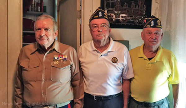 Contributed photo American Legion members Jim Kline, Tom Quinlan and Hector Torres visited a World War II veteran on behalf of Hospice of Orange and Sullivan Counties.