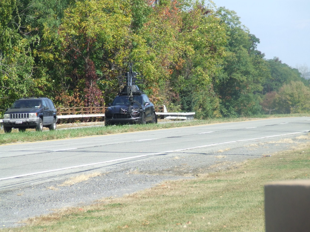 The second car is doing the filming on southbound 9W opposite the former site of Leary Chevrolet.