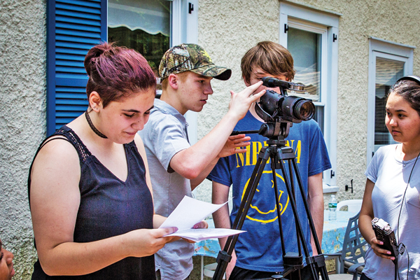 "Contributed photo Members of the Storm King film program work on ""Take a Hike,"" which has earned a spot in the New York Short Film Festival on Nov. 4."