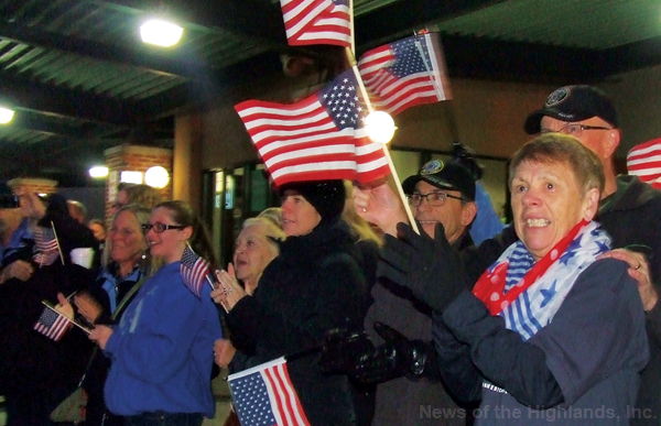 A crowd gathered at Stewart International Airport on Saturday morning to cheer for the passengers on the Hudson Valley Honor Flight - veterans of World War II and Korea.