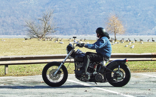 Photo by Jason Kaplan It was a beautiful weekend in the Hudson Valley as temperatures rose into the low 50s. Although winter isn't traditionally motorcycle season, one rider hit the road, taking a moment to enjoy the scenic Hudson River.