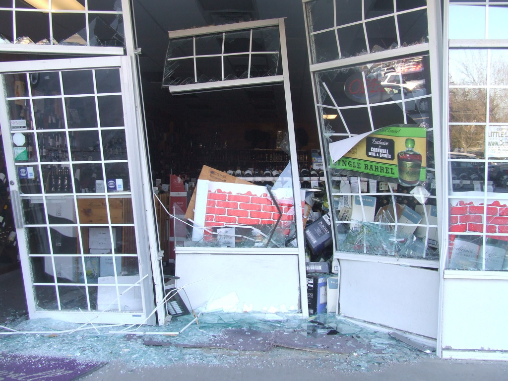 Cornwall Wines and Spirits, 45 Quaker Avenue, a few minutes after the crash.